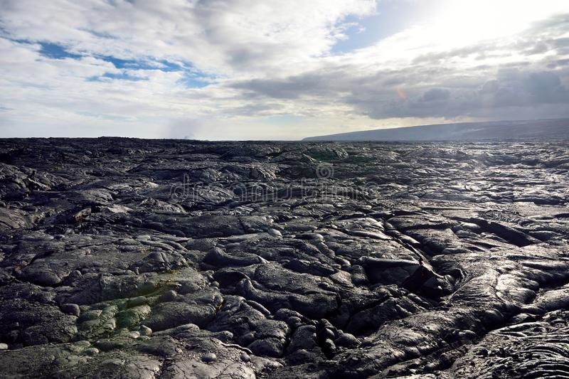 Niekończący się lawowi pola Duży Isalnd Hawaje Gładka, pofalowana powierzchnia zamarznięta pahoehoe lawa, obraz stock