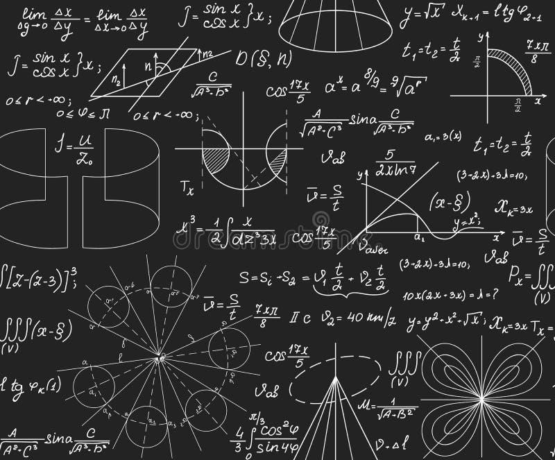 Niekończący się matematycznie tekstura z geometrical postaciami fabuły i równania ręcznie pisany z kredą na popielatym blackboard ilustracja wektor