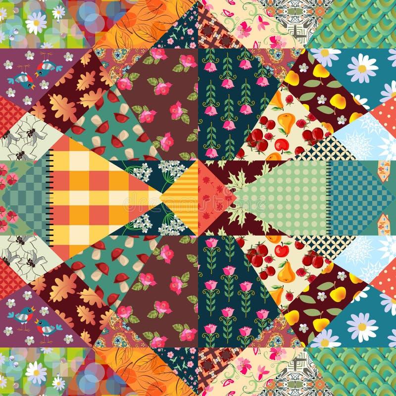 Niekończący się patchworku wzór z ślicznymi ptakami, mieści, kwitnie, pieczarki, liście i abstraktów druki, ilustracji