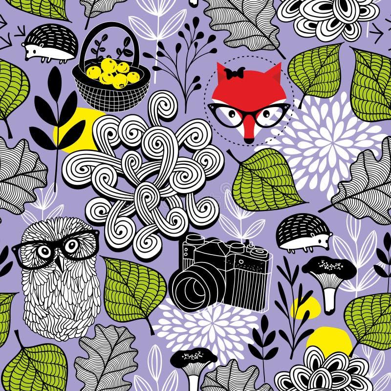 Niekończący się tło z lasowymi elementami royalty ilustracja