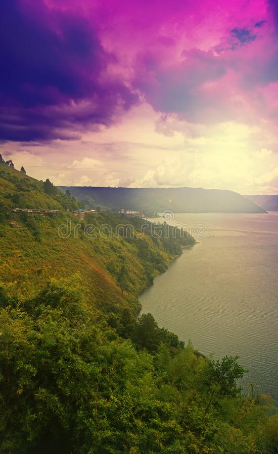 Niektóre dzień W Toba jeziorze, Północny Sumatra zdjęcie stock