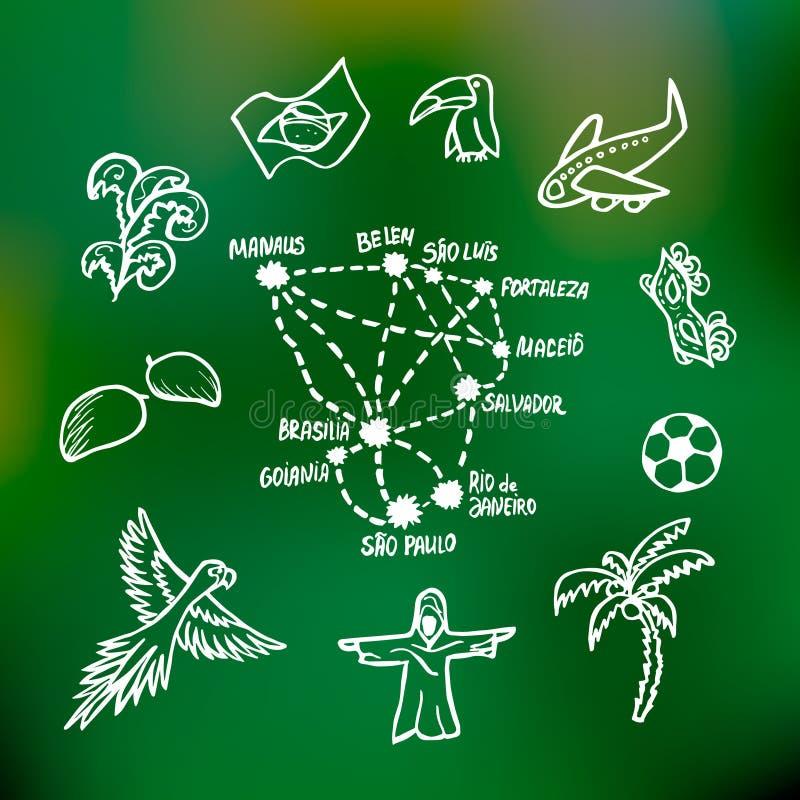 Niektóre Brazylijscy miasta i symbole ilustracja wektor