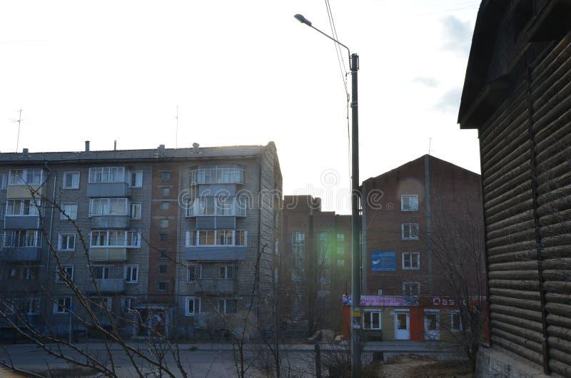 Niektóre budynki w jardzie zdjęcie stock