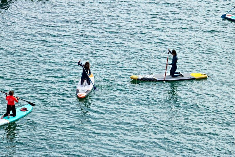 Niekt?re dziewczyny i ch?opiec paddle na desce na powierzchni morze na widok fotografia stock