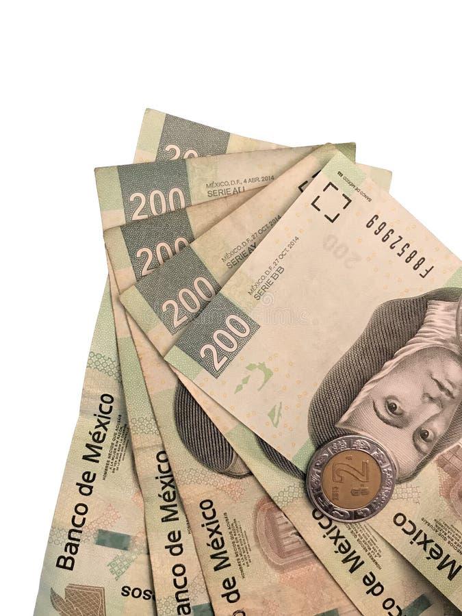Niektóre meksykańskiego peso 200 papierowi rachunki grupujący i na białym tle obraz royalty free