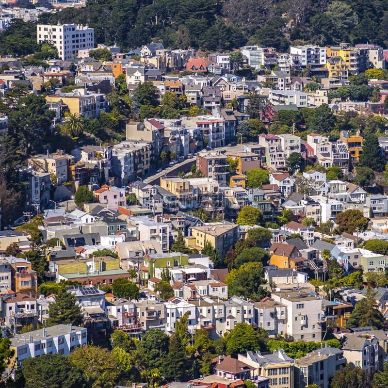 Niektóre zatłoczeni domy w San Francisco Kalifornia obrazy stock