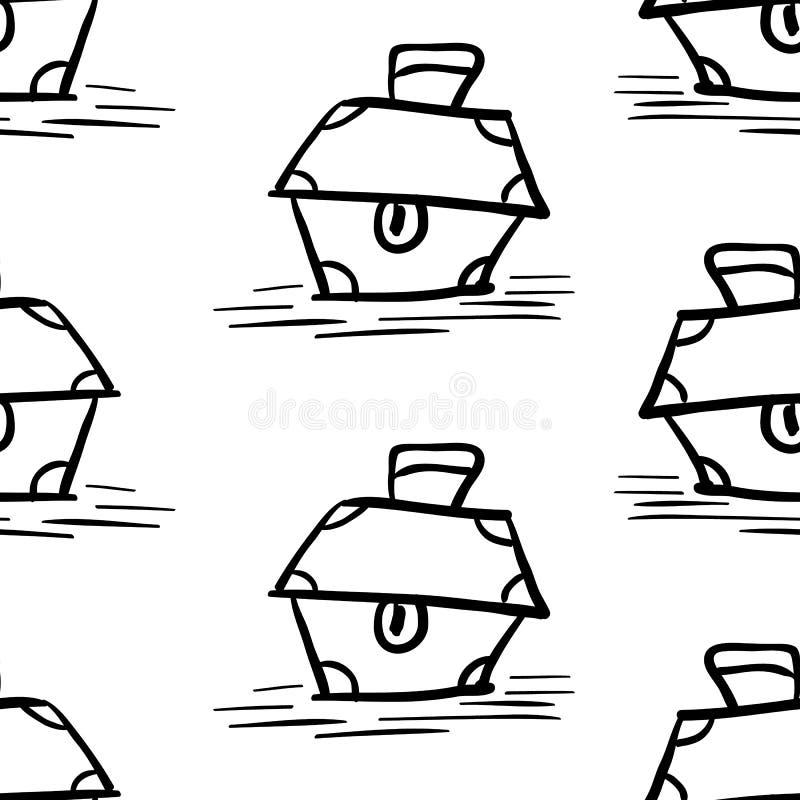 Nielegalnie kopiować bezszwowego wzór, czerń kapitanu skarbu klatki piersiowej tła tapeta, powtarzalna śmieszna ręka malująca tek royalty ilustracja