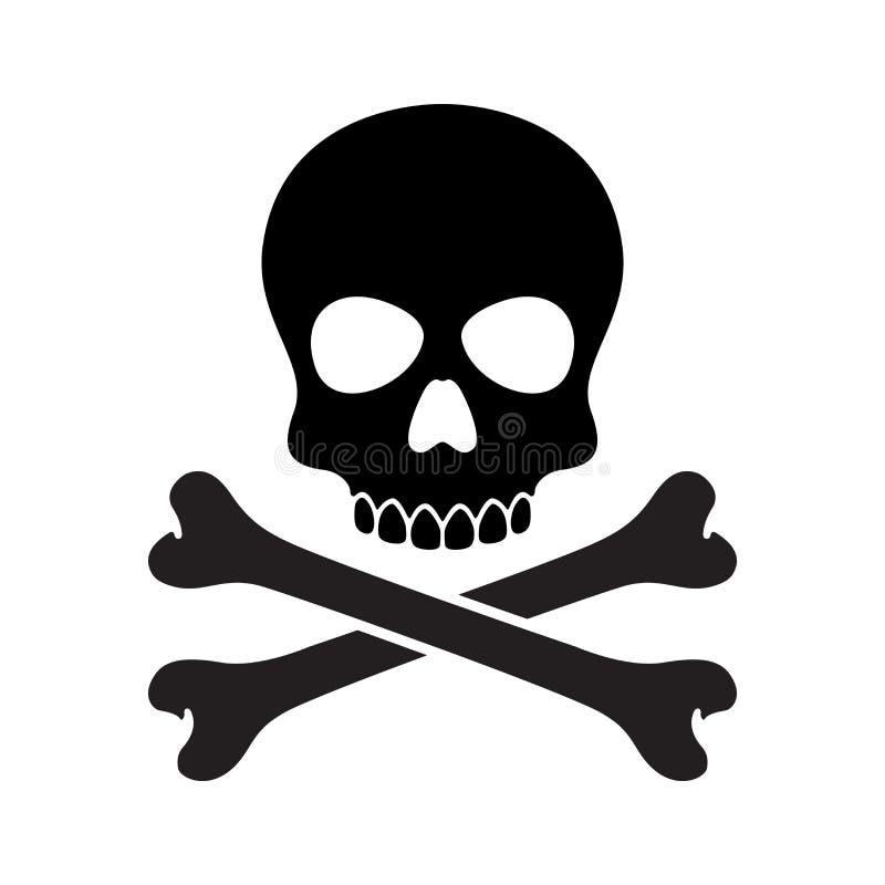 Nielegalnie kopiować czaszki ikony loga kości Halloweenowego ducha klamerki sztuki zredukowaną ilustracyjną grafikę ilustracja wektor