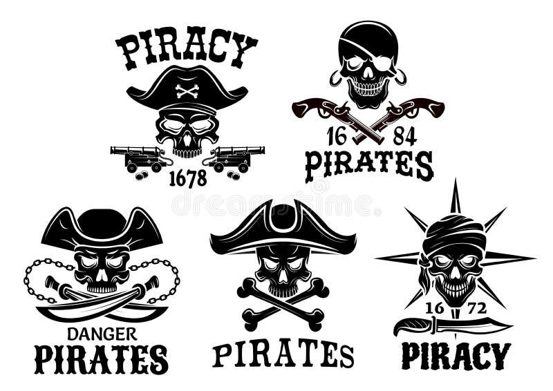 Nielegalnie kopiować symbole i Bycze Roger wektorowe ikony ustawiających ilustracji