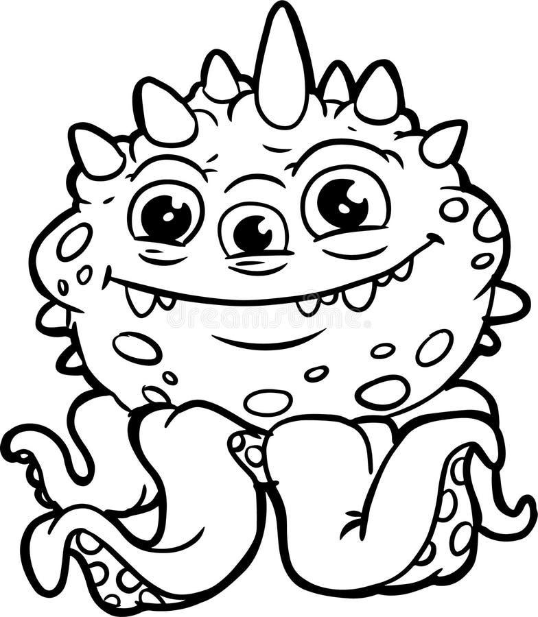 Niemądra Halloweenowa potwór sztuka książkowa kolorowa kolorystyki grafiki ilustracja obraz stock