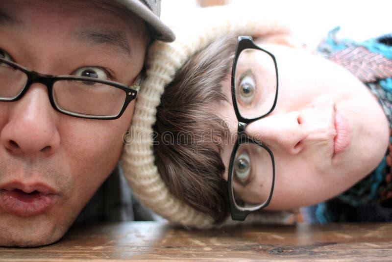 Niemądra i nerdy para zdjęcie royalty free