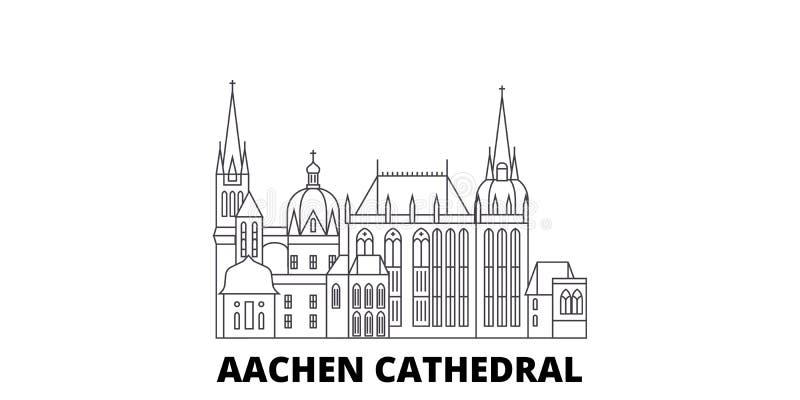 Niemcy, Aachen katedry linii podróży linia horyzontu set Niemcy, Aachen konturu Katedralny miasto wektorowa ilustracja, symbol royalty ilustracja