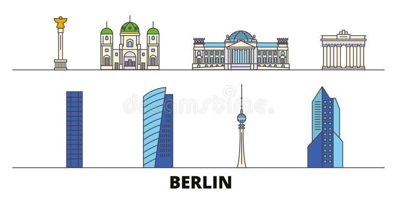 Niemcy, Berlińska płaska punktu zwrotnego wektoru ilustracja Niemcy, Berlin kreskowy miasto z sławnymi podróż widokami, linia hor ilustracja wektor