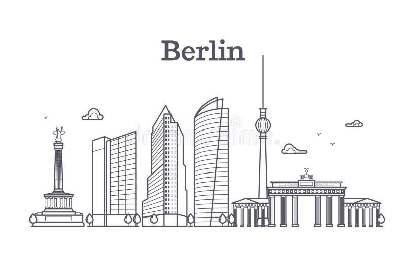 Niemcy Berlin linii wektoru krajobrazu, miasto panoramiczni domy ilustracji