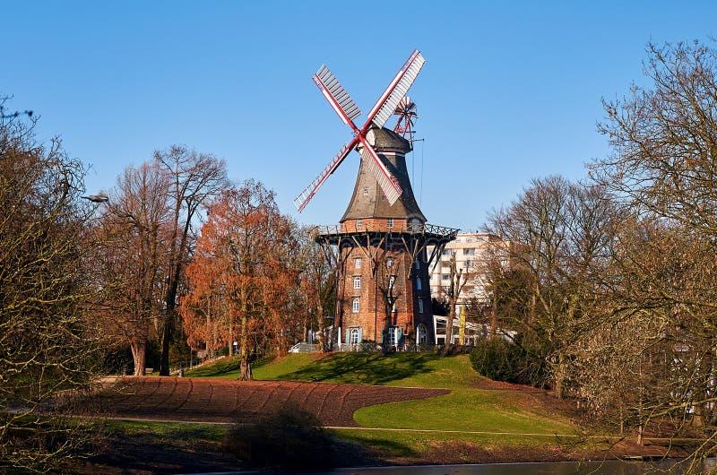 Niemcy bremen Młyn na dyszlu Natura miasto Bremen Luty 14, 2018 zdjęcia royalty free