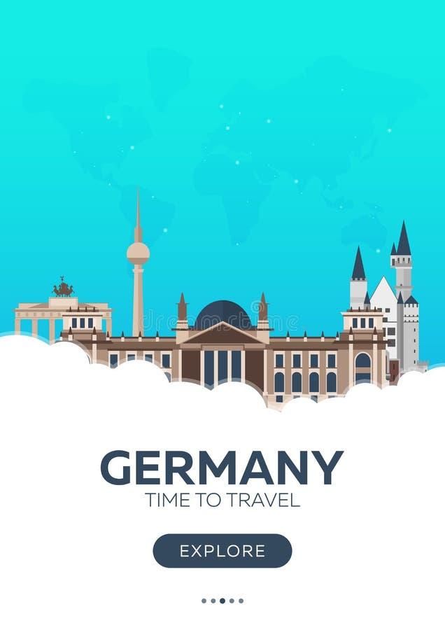 Niemcy czas podróży Podróż plakat Wektorowa płaska ilustracja ilustracji