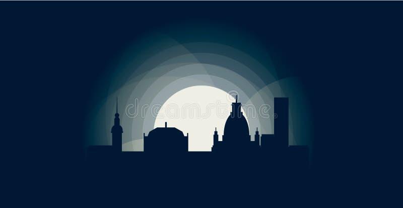Niemcy Drezdeńskiego miasta linii horyzontu loga chłodno ilustracja royalty ilustracja