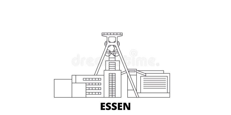 Niemcy, Essen, Zollverein kopalni węglej Przemysłowego kompleksu linii podróży linia horyzontu set Niemcy, Essen, Zollverein kopa ilustracja wektor