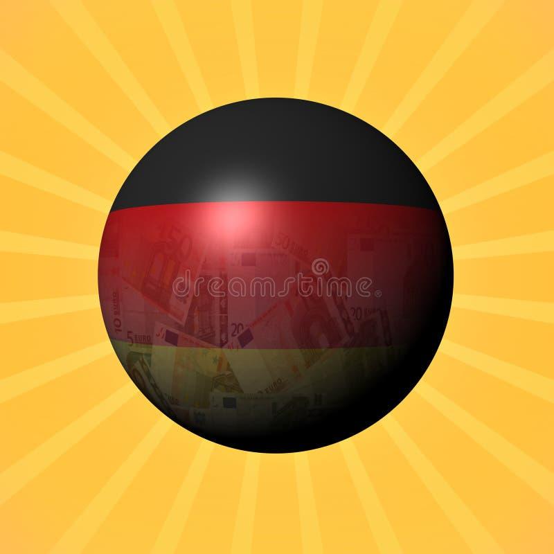 Niemcy flaga euro sfera na sunburst ilustraci ilustracji
