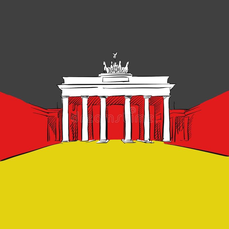 Niemcy flaga z Brandenburg bramą royalty ilustracja