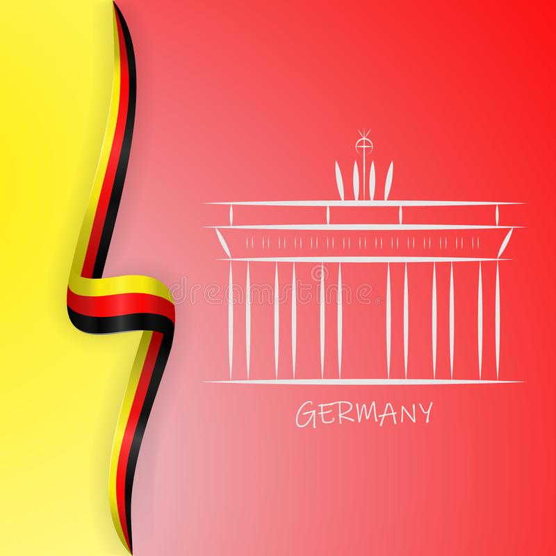 Niemcy flagi fala i Brandenburg brama, Brandenburger Tor ilustracji