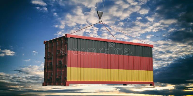 Niemcy flagi zbiornik na chmurnego nieba tle ilustracja 3 d ilustracja wektor