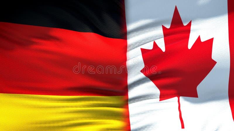 Niemcy i Kanada flag tło i relacje gospodarcze, dyplomatyczny obrazy royalty free