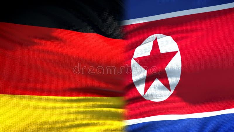 Niemcy i korei północnej flag tło i relacje gospodarcze, dyplomatyczny obrazy royalty free