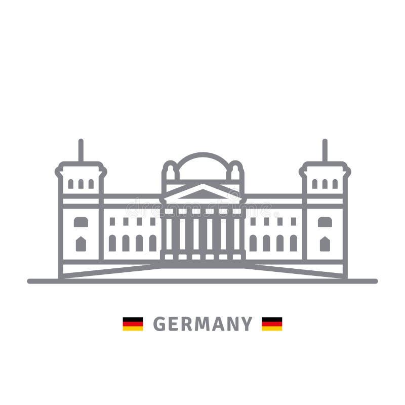 Niemcy ikona z Reichstag i niemiec flaga ilustracja wektor