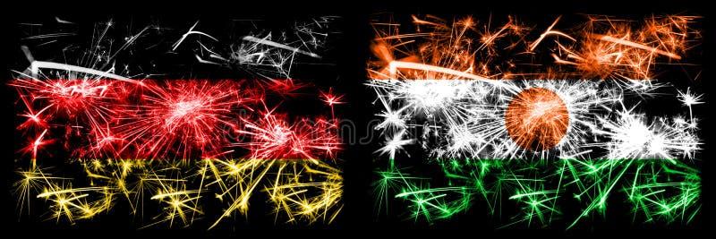 Niemcy, Niemcy kontra Niger, Nigeryjski Nowy Rok obchodów iskierujących fajerwerki flagami koncepcyjnymi Połączenie dwóch ilustracja wektor