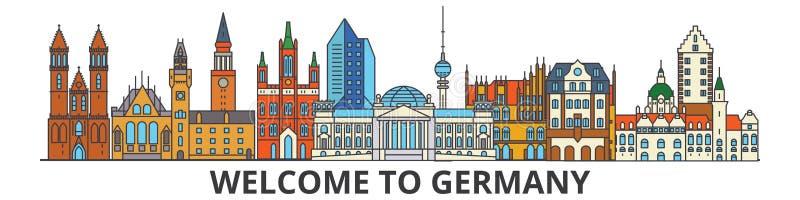 Niemcy konturu linia horyzontu, niemieckiego mieszkania cienkie kreskowe ikony, punkty zwrotni, ilustracje Niemcy pejzaż miejski, royalty ilustracja
