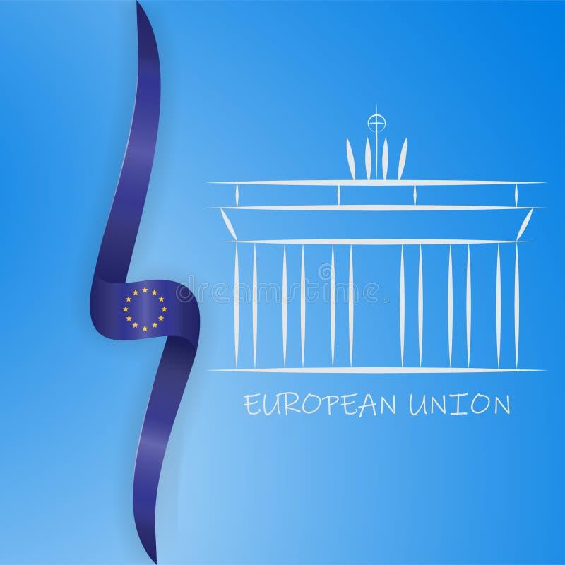 Niemcy linii ikona Brandenburg brama i unii europejskiej flaga wektoru ilustracja royalty ilustracja