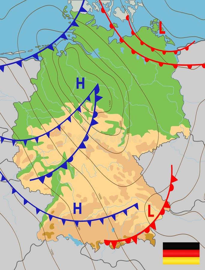 Niemcy Mapa pogody Niemiec Prognoza meteorologiczna Podlegający edycji wektor ogólny, pokazujący fotografia royalty free