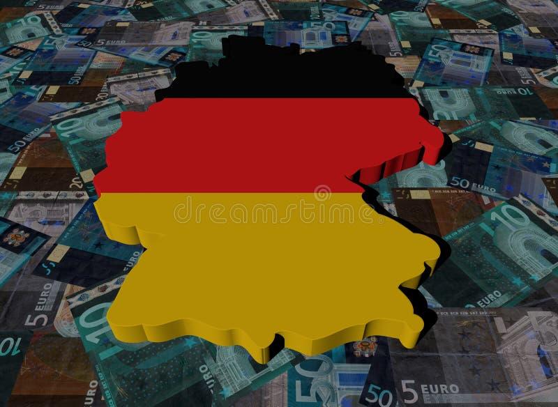 Niemcy mapy flaga na euro ilustracyjnych ilustracja wektor