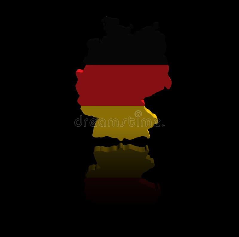 Niemcy mapy flaga z odbicie ilustracją royalty ilustracja