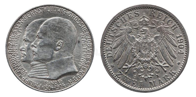 Niemcy niemiec Hesse srebna moneta 2 dwa zaznacza 1904 obrazy stock