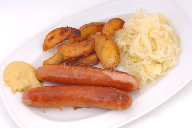 niemcy pieczone kiełbaski zdjęcia stock