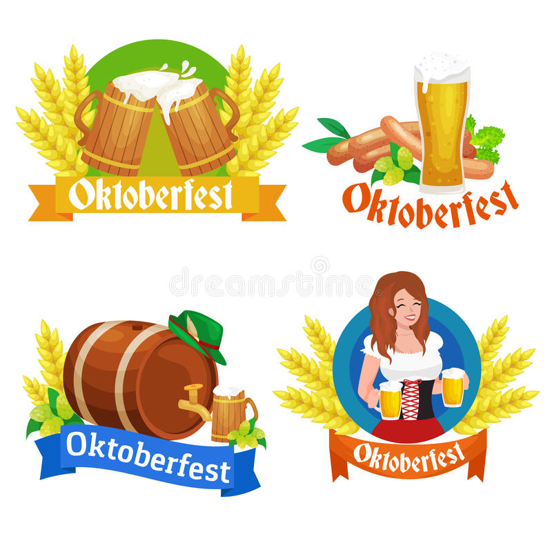 Niemcy piwny festiwal oktoberfest, bavarian piwo w szklanym kubku, tradycyjny partyjny świętowanie, wektorowa ilustracja ilustracja wektor