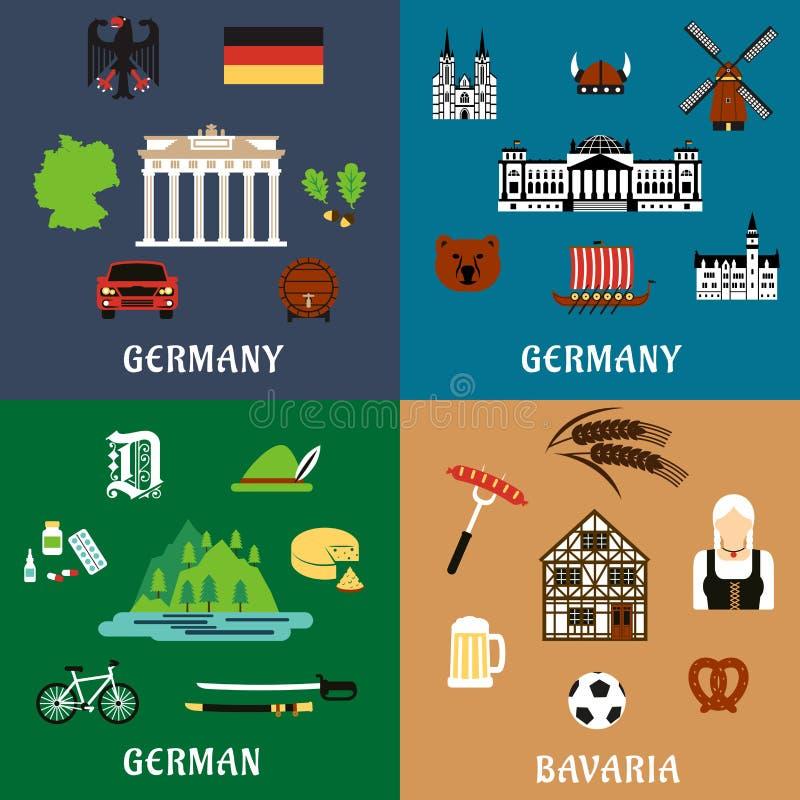 Niemcy podróży mrówki kultury mieszkania ikony ilustracja wektor