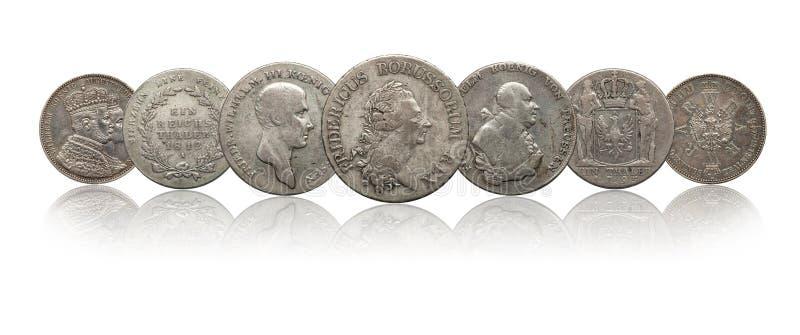 Niemcy srebnych monet niemiecki talarowy prussia odizolowywaj?cy na bia?ym tle obrazy stock