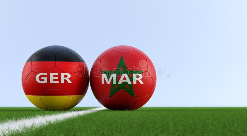 Niemcy vs Maroko mecz piłkarski - piłek nożnych piłki w niemiec i Maroko krajowych kolorach na boisko do piłki nożnej ilustracja wektor