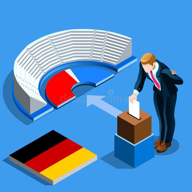 Niemcy wybory Niemieccy ludzie głosują i isometric tajnego głosowania pudełko ilustracji