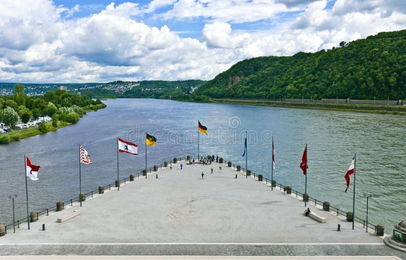 Niemiec kąt w Koblenz fotografia stock