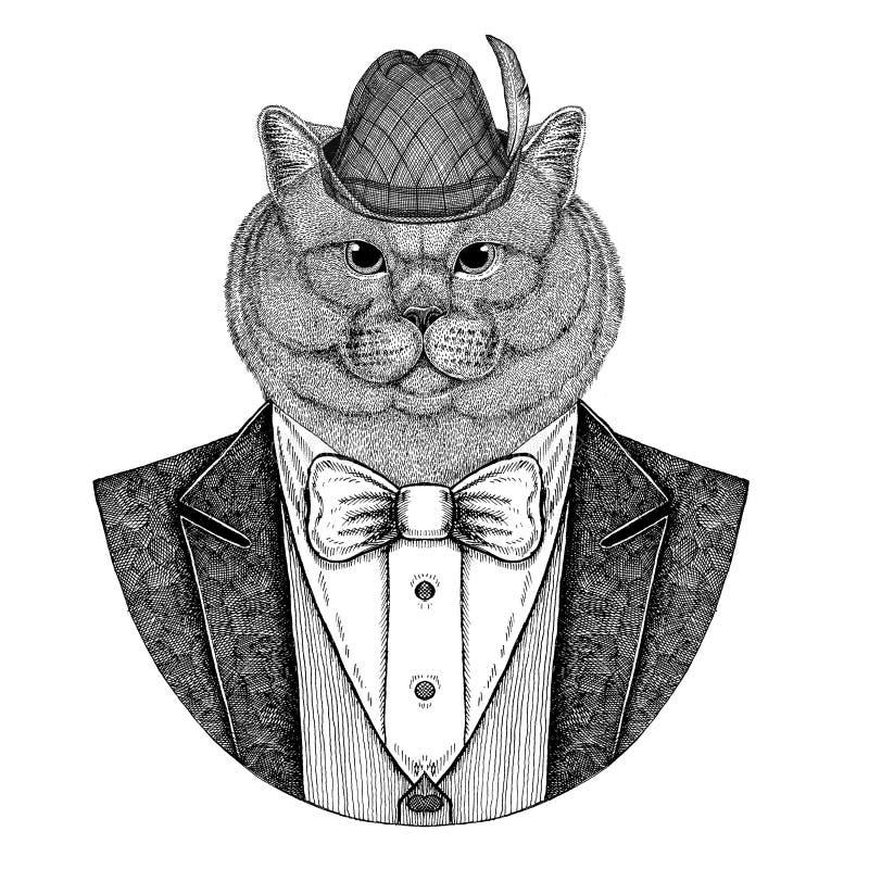 Niemiec Tirol Brithish kota kapeluszowa Bawarska krajowa kapeluszowa szlachetna Męska ręka rysujący wizerunek dla tatuażu, emblem ilustracji