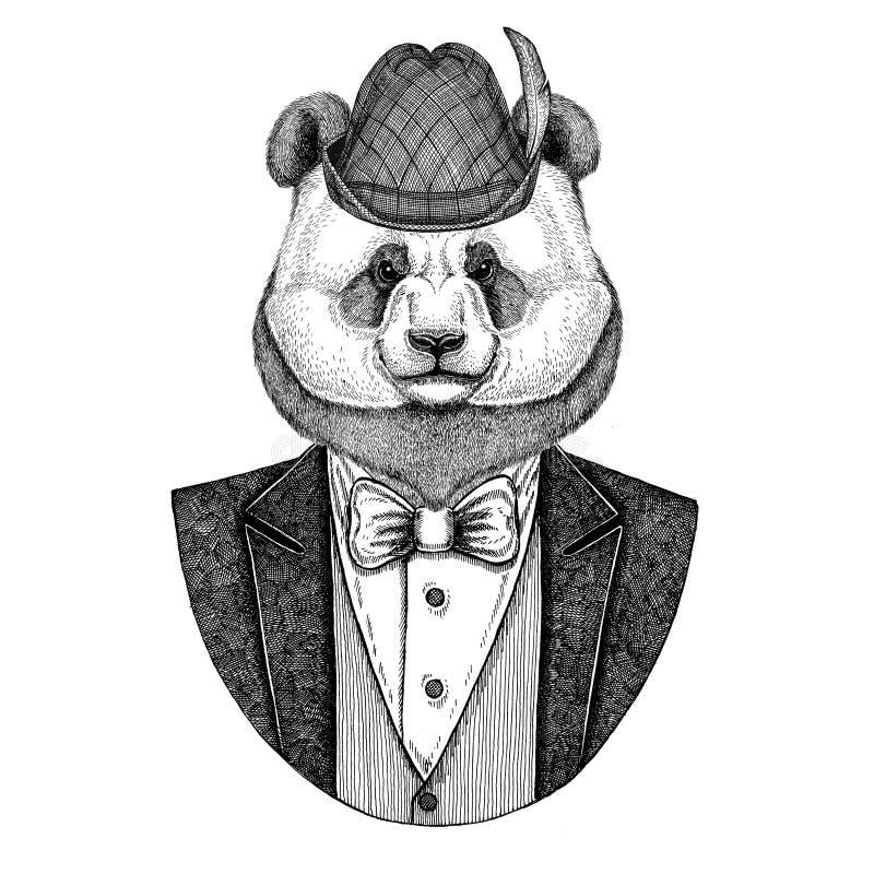 Niemiec Tirol kapeluszowa Bawarska krajowa kapeluszowa panda, bambusa niedźwiedzia ręka rysujący wizerunek dla tatuażu, emblemat, ilustracji