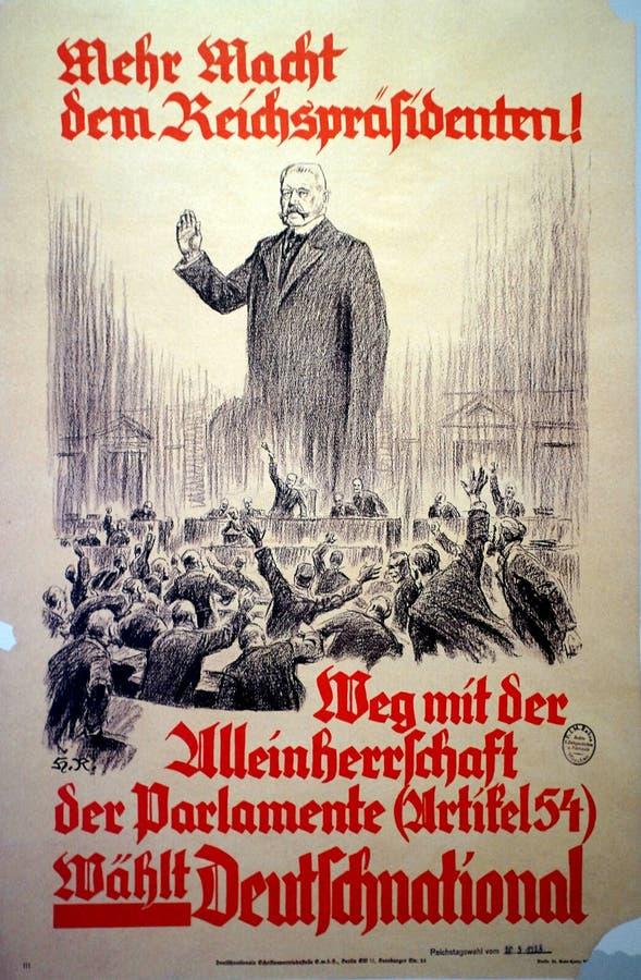 Niemiec wybory 1928 plakat obraz royalty free