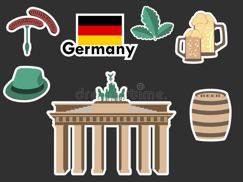 Niemieccy majchery, Germany symbole Brandenburg brama, piwo, dębowi liście, Bawarskie kiełbasy Łata elementy Niemcy royalty ilustracja