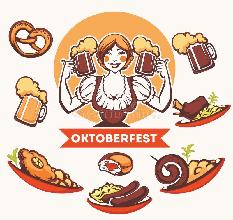 Niemiecka dziewczyna, jedzenie i bier, royalty ilustracja