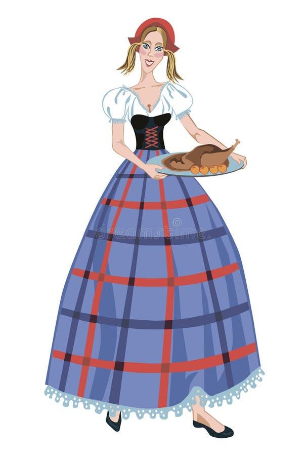 Niemiecka dziewczyna w kostiumu i Bożenarodzeniowej gąsce royalty ilustracja