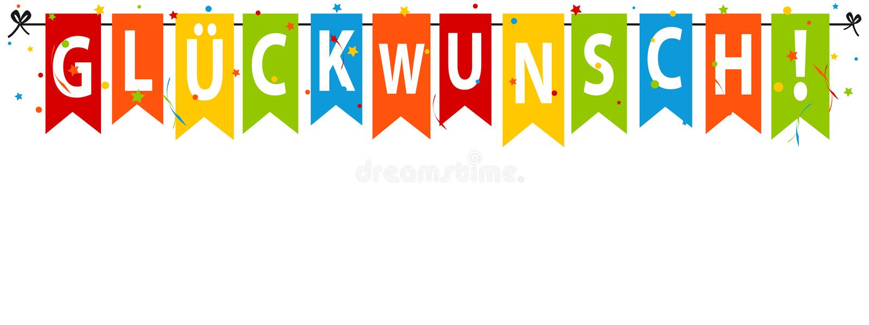Niemiecka gratulacje! Sztandar, tło Odizolowywający Na Białym tle - wektoru przyjęcia flaga Z confetti I Streamers - ilustracji